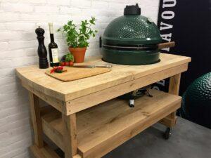 Eiken tafel + Big Green Egg Medium