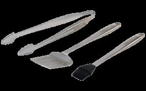 Tang, spatel en kwast (stainless steel tool set)