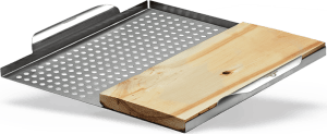 RVS groentekorf met cederhouten plank